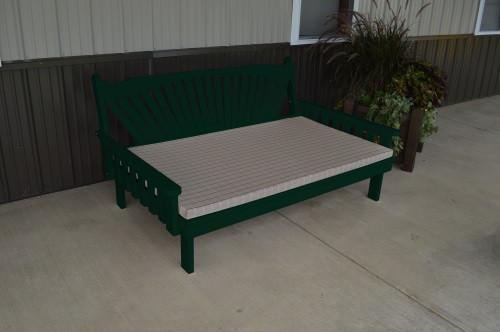 6' Fanback Yellow Pine Daybed - Dark Green w/ Cushion