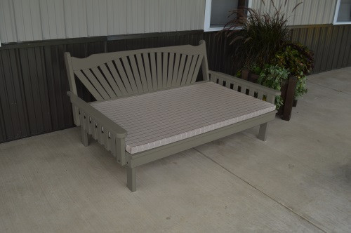 4' Fanback Yellow Pine Daybed - Olive Gray w/ Cushion