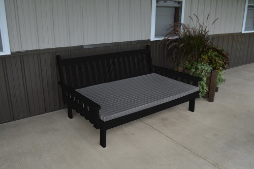 6' Traditional Yellow Pine Daybed - Black w/ Cushion