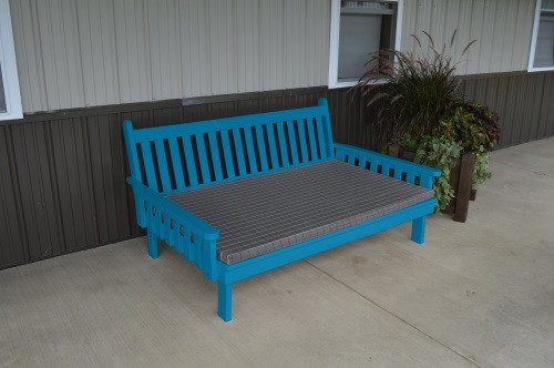 6' Traditional Yellow Pine Daybed - Caribbean Blue w/ Cushion