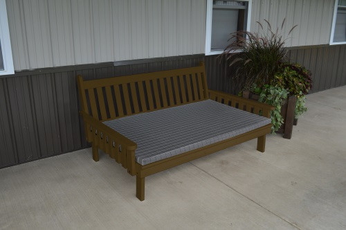 6' Traditional Yellow Pine Daybed - Coffee w/ Cushion