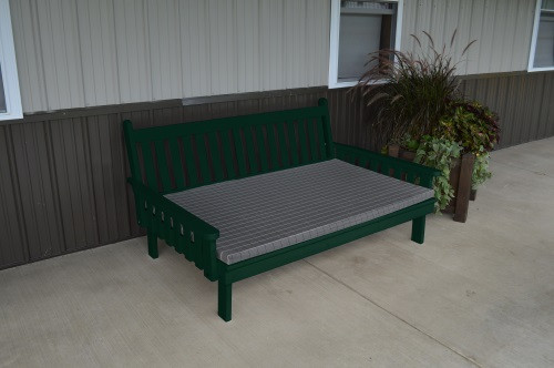 6' Traditional Yellow Pine Daybed - Dark Green w/ Cushion