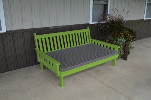 4' Traditional Yellow Pine Daybed - Lime Green w/ Cushion