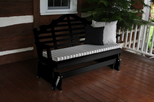 4' Marlboro Yellow Pine Glider - Black w/ Cushion