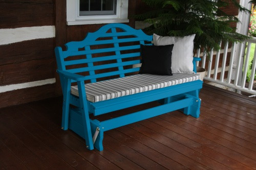 4' Marlboro Yellow Pine Glider - Caribbean Blue w/ Cushion
