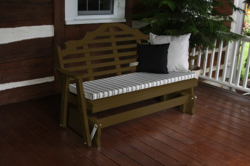 4' Marlboro Yellow Pine Glider - Coffee w/ Cushion