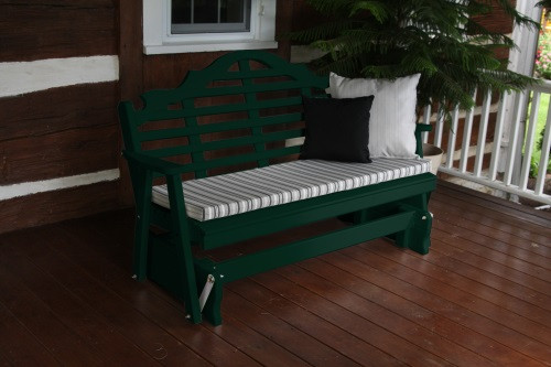 4' Marlboro Yellow Pine Glider - Dark Green w/ Cushion