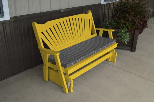 6' Fanback Yellow Pine Glider - Carnary Yellow w/ Cushion