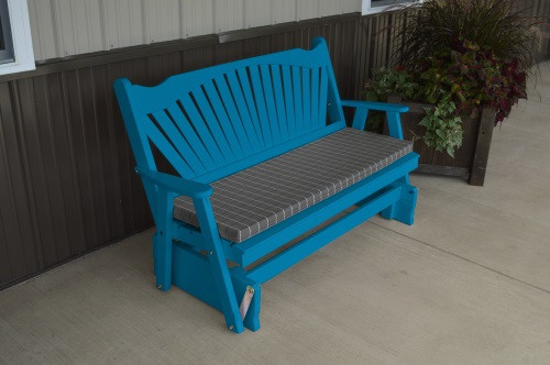 6' Fanback Yellow Pine Glider - Caribbean Blue w/ Cushion