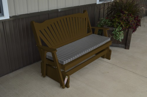 6' Fanback Yellow Pine Glider - Coffee w/ Cushion