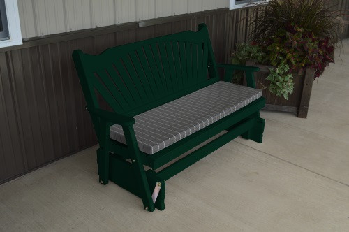 4' Fanback Yellow Pine Glider - Dark Green w/ Cushion