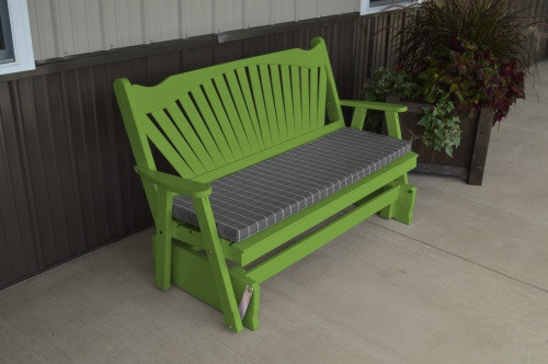 4' Fanback Yellow Pine Glider - Lime Green w/ Cushion