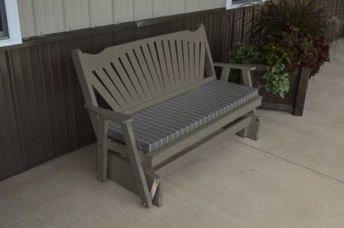 6' Fanback Yellow Pine Glider - Olive Gray w/ Cushion