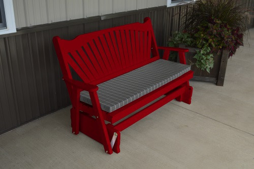 5' Fanback Yellow Pine Glider - Tractor Red w/ Cushion