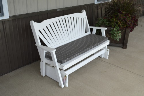 6' Fanback Yellow Pine Glider - White w/ Cushion