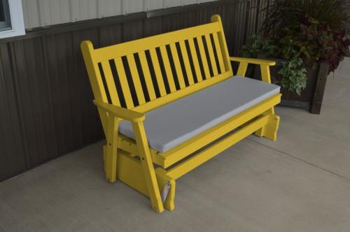 5' Traditional English Yellow Pine Glider - Canary Yellow w/ Cushion
