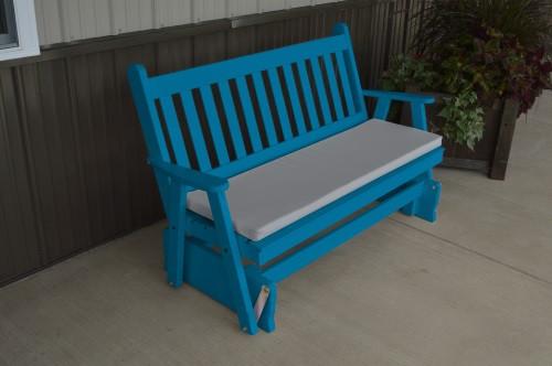 5' Traditional English Yellow Pine Glider - Caribbean Blue w/ Cushion
