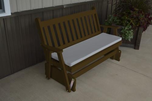 5' Traditional English Yellow Pine Glider - Coffee w/ Cushion