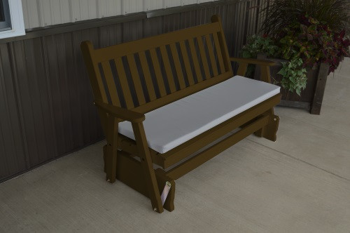 6' Traditional English Yellow Pine Glider - Coffee w/ Cushion