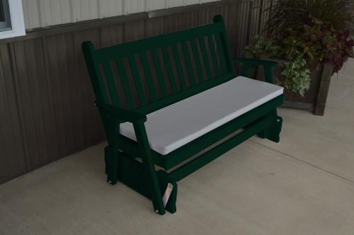 4' Traditional English Yellow Pine Glider - Dark Green w/ Cushion