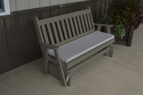 4' Traditional English Yellow Pine Glider - Olive Gray w/ Cushion