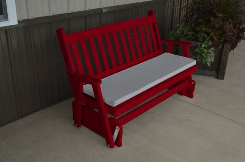 5' Traditional English Yellow Pine Glider - Tractor Red w/ Cushion