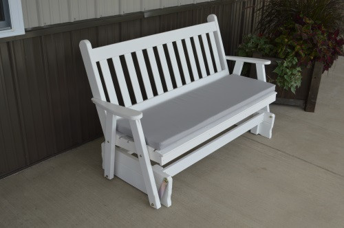 4' Traditional English Yellow Pine Glider - White w/ Cushion