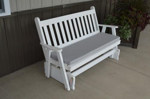 5' Traditional English Yellow Pine Glider - White w/ Cushion