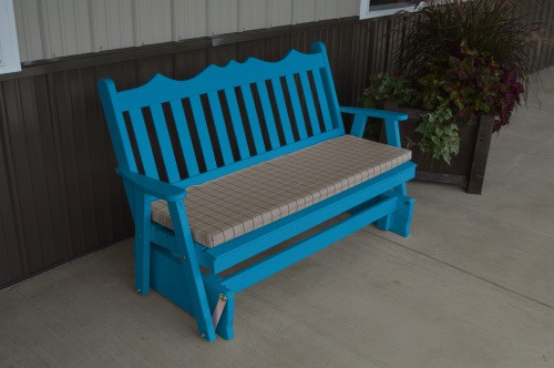4' Royal English Yellow Pine Glider - Caribbean Blue w/ Cushion