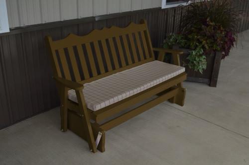 5' Royal English Yellow Pine Glider - Coffee w/ Cushion