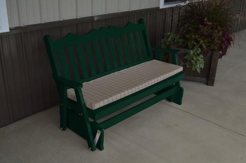 5' Royal English Yellow Pine Glider - Dark Green w/ Cushion