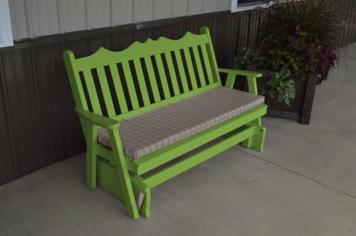 5' Royal English Yellow Pine Glider - Lime Green w/ Cushion