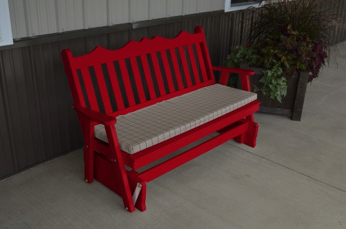 5' Royal English Yellow Pine Glider - Tractor Red w/ Cushion