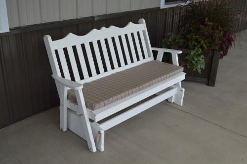 5' Royal English Yellow Pine Glider - White w/ Cushion