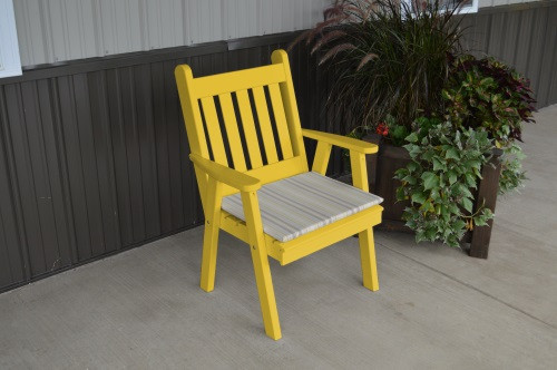 Traditional English Yellow Pine Dining Chair - Canary Yellow w/ Cushion