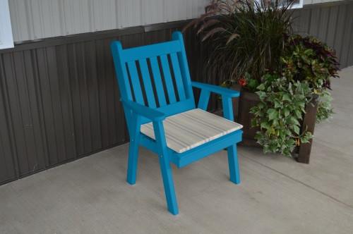 Traditional English Yellow Pine Dining Chair - Caribbean Blue w/ Cushion