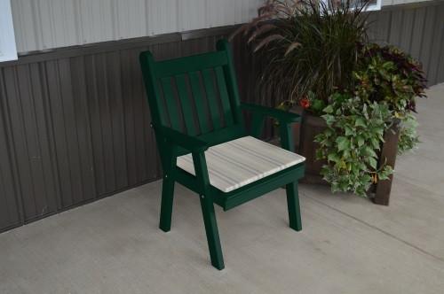 Traditional English Yellow Pine Dining Chair - Dark Green w/ Cushion
