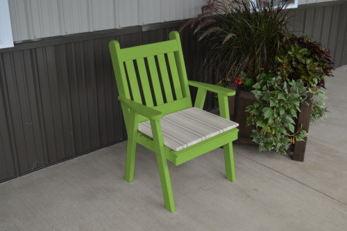 Traditional English Yellow Pine Dining Chair - Lime Green w/ Cushion