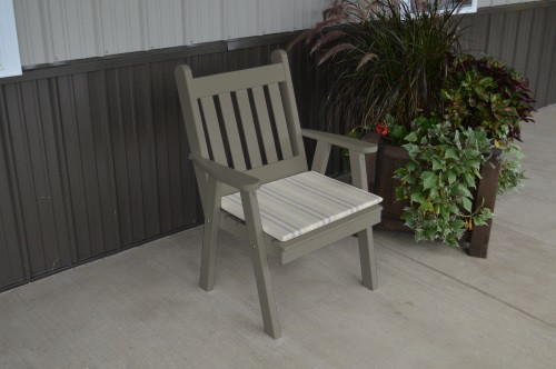 Traditional English Yellow Pine Dining Chair - Olive Gray w/ Cushion
