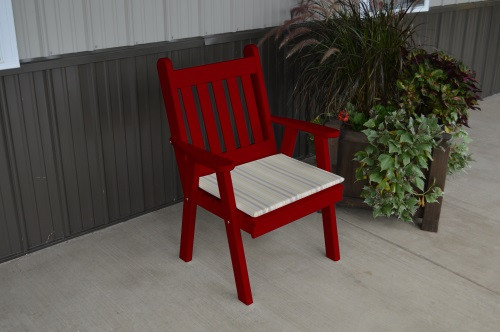 Traditional English Yellow Pine Dining Chair - Tractor Red w/ Cushion
