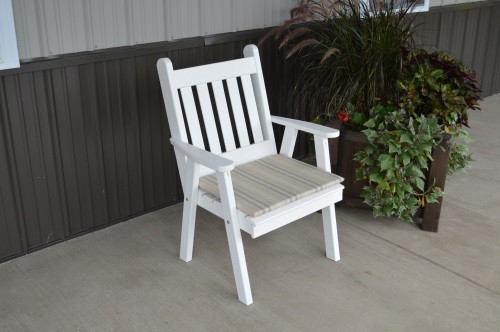 Traditional English Yellow Pine Dining Chair - White w/ Cushion