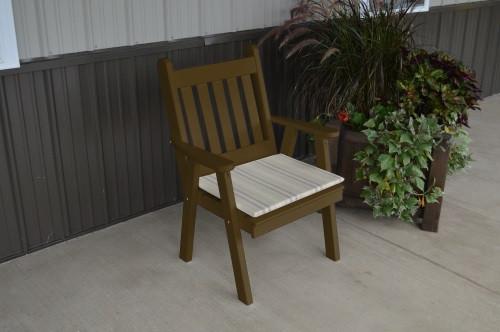 Traditional English Yellow Pine Dining Chair - Coffee w/ Cushion