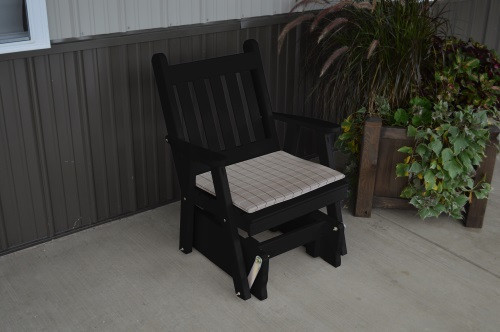 Traditional English Yellow Pine Glider Chair - Black w/ Cushion