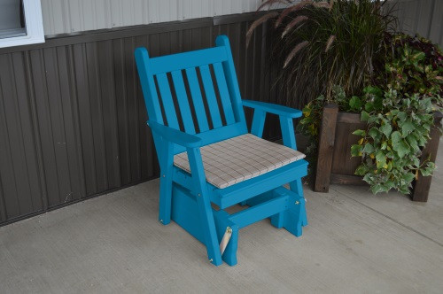 Traditional English Yellow Pine Glider Chair - Caribbean Blue w/ Cushion