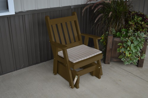 Traditional English Yellow Pine Glider Chair - Coffee w/ Cushion