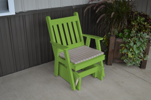 Traditional English Yellow Pine Glider Chair - Lime Green w/ Cushion