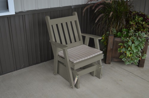 Traditional English Yellow Pine Glider Chair - Olive Gray w/ Cushion