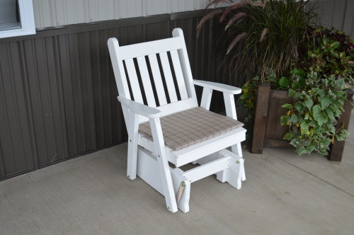Traditional English Yellow Pine Glider Chair - White w/ Cushion