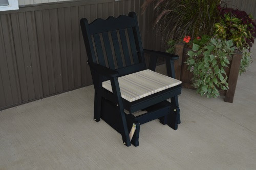 Royal English Yellow Pine Glider Chair - Black w/ Cushion