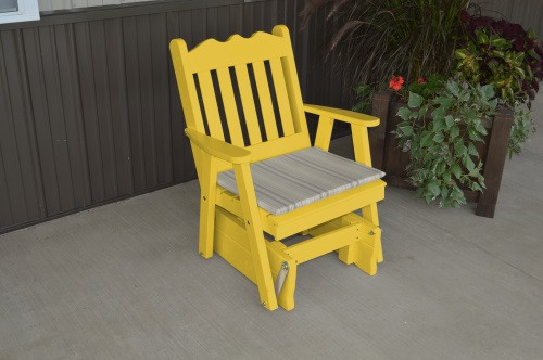 Royal English Yellow Pine Glider Chair - Canary Yellow w/ Cushion